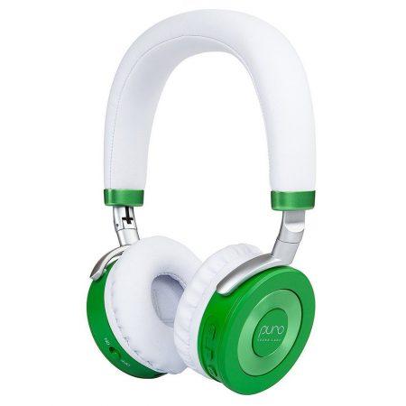audifonos de diadema bluetooth para niños y niñas color blanco con verde
