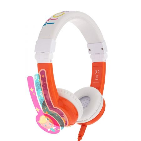 audifonos de diadema para niñas y niños con reduccion de ruido marca onanoff color blanco con naranja