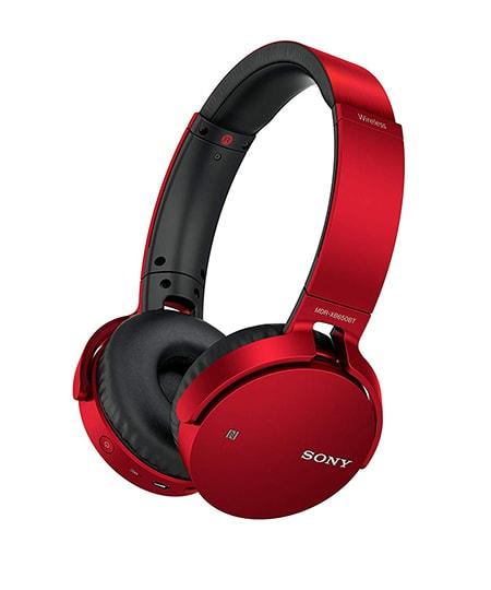 adifonos Sony MDR-XB650BT con sistema extrabass en color rojo inalambricos