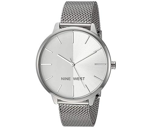 reloj para dama en color plateado, lindo y elegante marca ninewest
