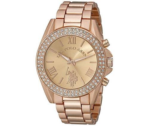 reloj dorado polo assn con brillantes para mujer