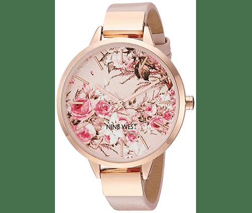 reloj de pulsera para mujer color rosado con dorado nine west