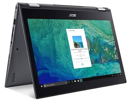 laptop 2 en 1 acer spin con pantalla tactil, color negra, 4gb de memoria ram y 64gb disco duro