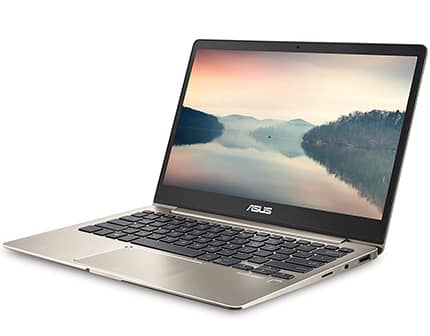 laptop asus zenbook ultra delgada, color dorado con 256gb de disco duro ssd
