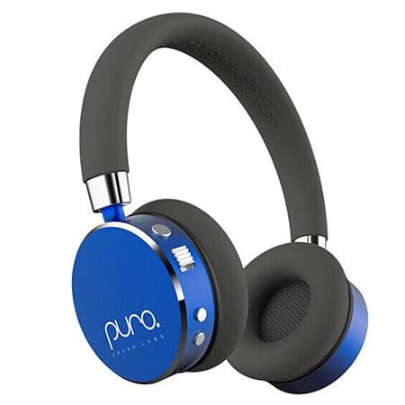 audifonos infantiles inalambricos para niños marca puro sounds color negro con azul