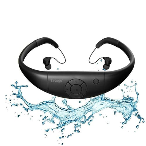 auriculares tayogo inalambricos, con 8gb de memoria, color negro , resistentes al agua